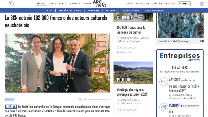 ArcInfo : « La BCN octroie 102 000 francs à des acteurs culturels neuchâtelois »
