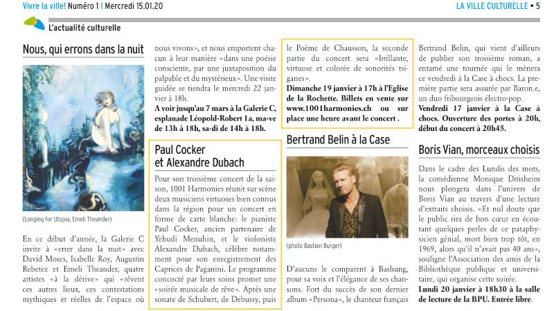 Journal Vivre la Ville : « Paul Coker et Alexandre Dubach »